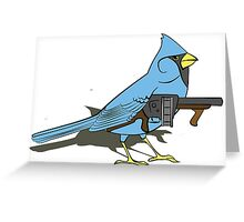 Budgie with a Gun Blue Greeting Card