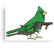Budgie with a Gun Green Canvas Print