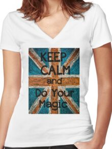 Keep Calm and Think Big message Women's Fitted V-Neck T-Shirt