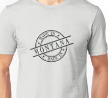 Made In Montana Stamp Style Logo Symbol Black Unisex T-Shirt
