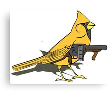 Budgie with a Gun Yellow Canvas Print