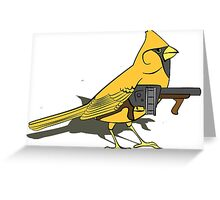 Budgie with a Gun Yellow Greeting Card