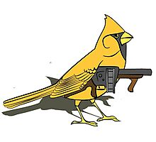 Budgie with a Gun Yellow Photographic Print