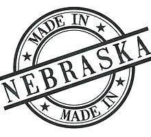Made In Nebraska Stamp Style Logo Symbol Black by surgedesigns