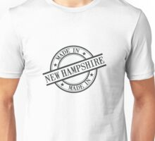 Made In New Hampshire Stamp Style Logo Black Unisex T-Shirt