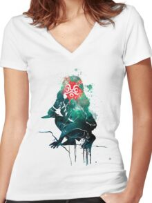 Princess Mononoke Watercolor Women's Fitted V-Neck T-Shirt