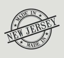 Made In New Jersey Stamp Style Logo Symbol Black T-Shirt
