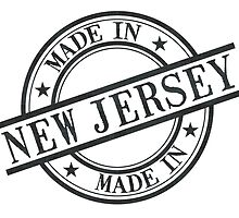 Made In New Jersey Stamp Style Logo Symbol Black by surgedesigns