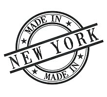 Made In New York Stamp Style Logo Symbol Black Photographic Print