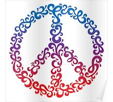 Floral Peace Symbol Poster