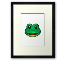 Frog Face Apple / WhatsApp Emoji Framed Print