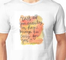 1 Peter 5:7 Watercolor Print Unisex T-Shirt