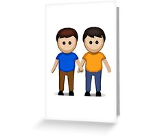 Two Men Holding Hands Apple / WhatsApp Emoji Greeting Card