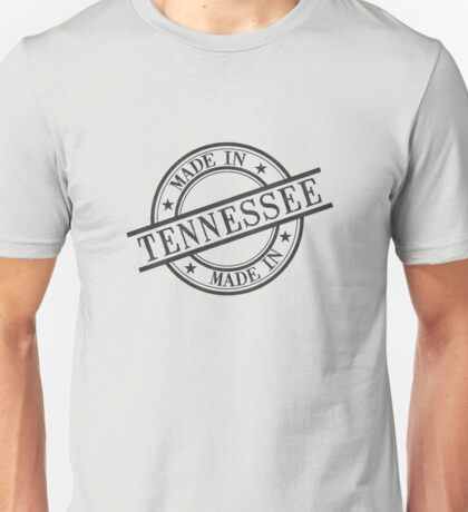 Made In Tennessee Stamp Style Logo Symbol Black Unisex T-Shirt