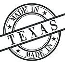 Made In Texas Stamp Style Logo Symbol Black by surgedesigns