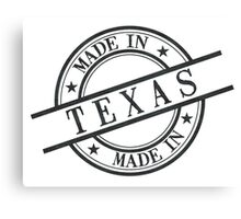 Made In Texas Stamp Style Logo Symbol Black Canvas Print