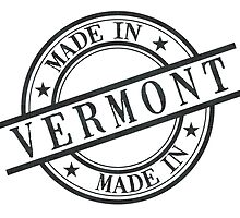 Made In Vermont Stamp Style Logo Symbol Black by surgedesigns