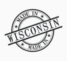 Made In Wisconsin Stamp Style Logo Symbol Black Kids Clothes