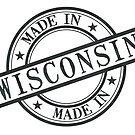 Made In Wisconsin Stamp Style Logo Symbol Black by surgedesigns