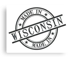 Made In Wisconsin Stamp Style Logo Symbol Black Canvas Print