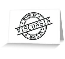 Made In Wisconsin Stamp Style Logo Symbol Black Greeting Card
