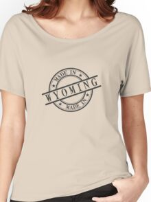 Made In Wyoming Stamp Style Logo Symbol Black Women's Relaxed Fit T-Shirt