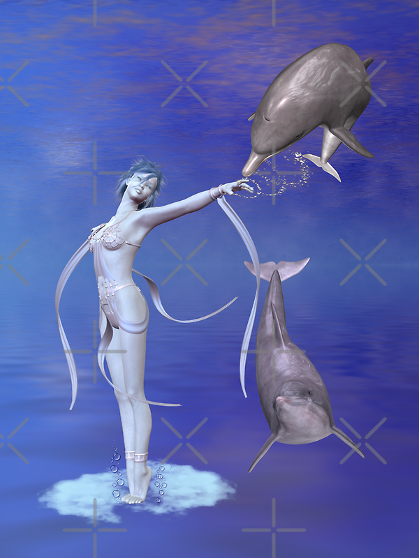 Sea Siren  .. playing with dolphins by LoneAngel
