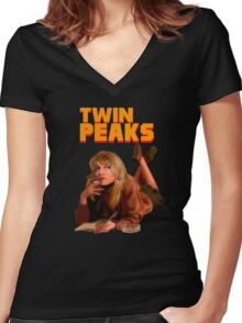 Twin Peaks Fiction (Pulp Fiction parody) Women's Fitted V-Neck T-Shirt