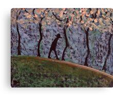 Man Walking through trees Canvas Print