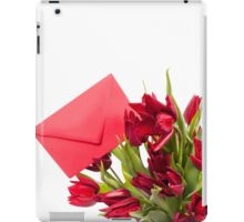 Red tulips flower post iPad Case/Skin