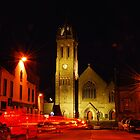 Peebles Old Parish Church at night by Ospreywatcher