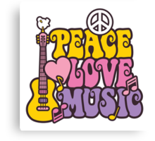 Peace, Love, Music Canvas Print