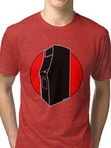Retrogamer - Arcade Cabinet Silhouette - RED Tri-blend T-Shirt