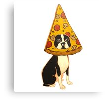 Boston Terrier Pizza Dog Canvas Print