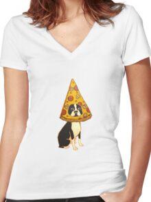 Boston Terrier Pizza Dog Women's Fitted V-Neck T-Shirt