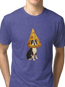 Boston Terrier Pizza Dog Tri-blend T-Shirt
