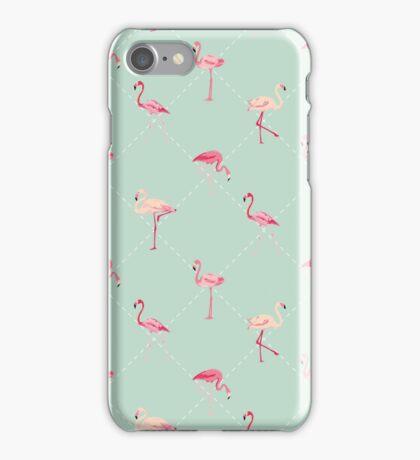 Retro Flamingo Bird Background iPhone Case/Skin