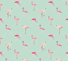 Retro Flamingo Bird Background by Anna Sivak