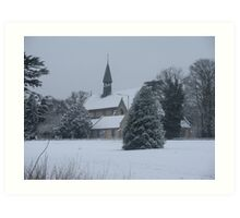 Snow Scene Church Art Print