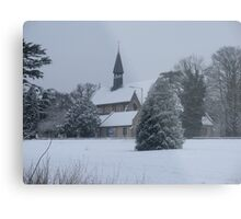 Snow Scene Church Metal Print