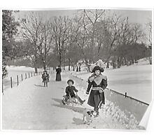 Winter in Central Park, 1900 Poster