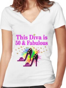 50 AND FABULOUS Women's Fitted V-Neck T-Shirt