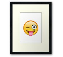 Face With Stuck-Out Tongue And Winking Eye Apple / WhatsApp Emoji Framed Print