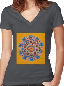 Doily Joy- Original Mandala Women's Fitted V-Neck T-Shirt