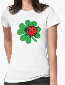 Shamrock ladybug Womens Fitted T-Shirt