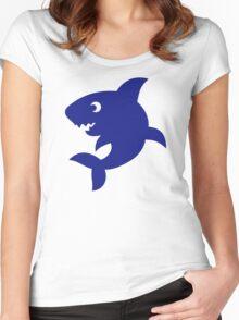 Blue comic shark Women's Fitted Scoop T-Shirt