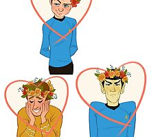 Set of Spock, Jim Kirk, and Bones valentines by livielightyear