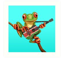 Tree Frog Playing Kenyan Flag Guitar Art Print