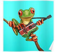 Tree Frog Playing Kenyan Flag Guitar Poster
