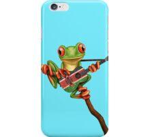Tree Frog Playing Kenyan Flag Guitar iPhone Case/Skin